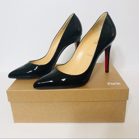 official photos 9a225 7206a Christian Louboutin PIGALLE 100 Black Patent Pumps